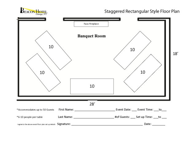 wedding reception layout with rectangular tables